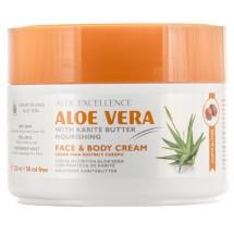 Aloe Excellence | Aloe Vera With Karite Butter Nourishing Face & Body Cream Creme 300ml Dose (Gran Canaria)