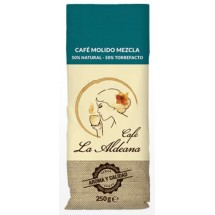 Cafe la Aldeana | Cafe Molido Mezcla 50% Natural 50% Torrefacto gemahlener Röstkaffee 250g Tüte angebaut auf Gran Canaria