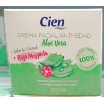 Cien | Crema Facial Anti-Edad Aloe Vera Rosa Mosqueta Baba de Caracol 100ml (Teneriffa)
