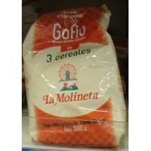 Gofio La Molineta | Gofio de 3 Cereales Trigo, Millo y Cebada Tueste Normal 3-Sorten-Gofio geröstetes Mehl 500g (Teneriffa)